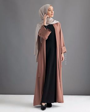 INAYAH   A timeless and modern versatile abaya. Can be styled open or closed with belt.  Mocha Open Front Abaya Black Textured Dress with Flare Oatmeal Rayon Blend Jersey Hijab www.inayah.co