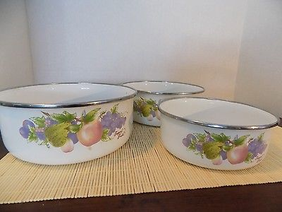 Vintage Enamelware Set Tropical Fruit Cookware Serving Dishes Unknown Age Maker