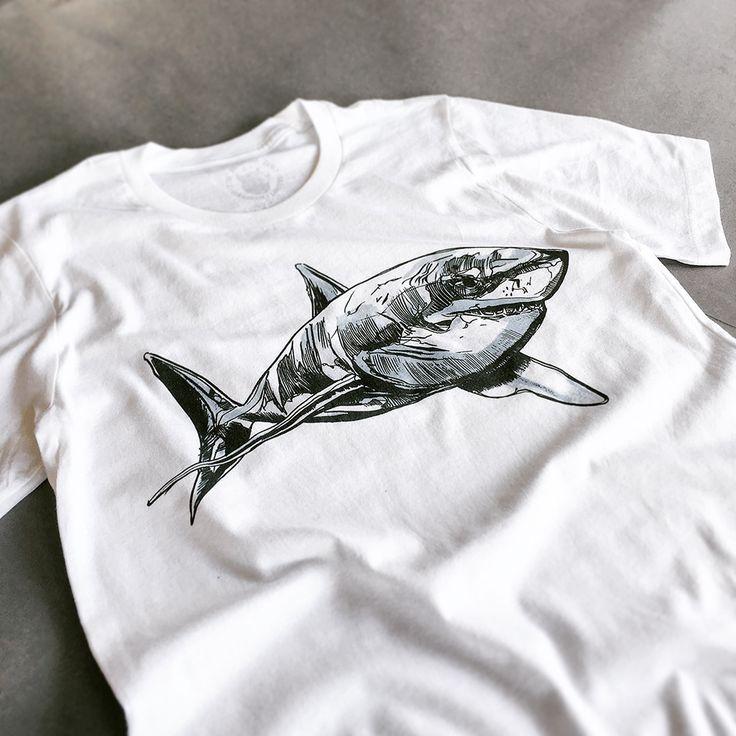 The Sharkie White Tee - Original artwork by Luke Dixon