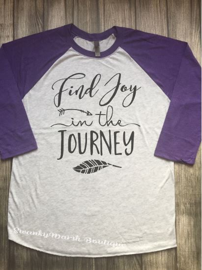 purple raglan shirt // women's baseball tee // unisex baseball shirt // find joy in the journey // womens purple raglan