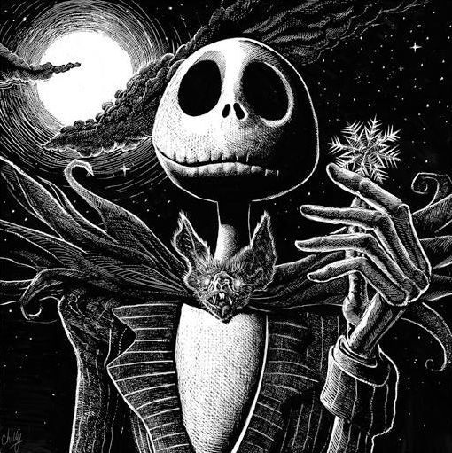"""Jack Skellington from """"The Nightmare Before Christmas"""" by artist Mark Chilcott, it is an edition of only 50! Description from missedprints.com. I searched for this on bing.com/images"""