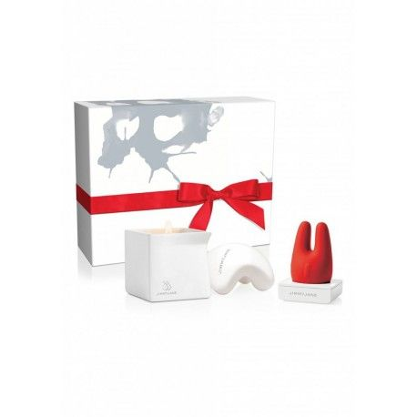 Special gift wrapped Set includes:  Form 2 Special Edition Red Waterproof Rechargeable Vibrator  Afterglow Special Edition, Cocao + FIG Natural Massgae Oil Candle  Contour M Ceramic Massage Stone Waterproof body Safe Multispeed