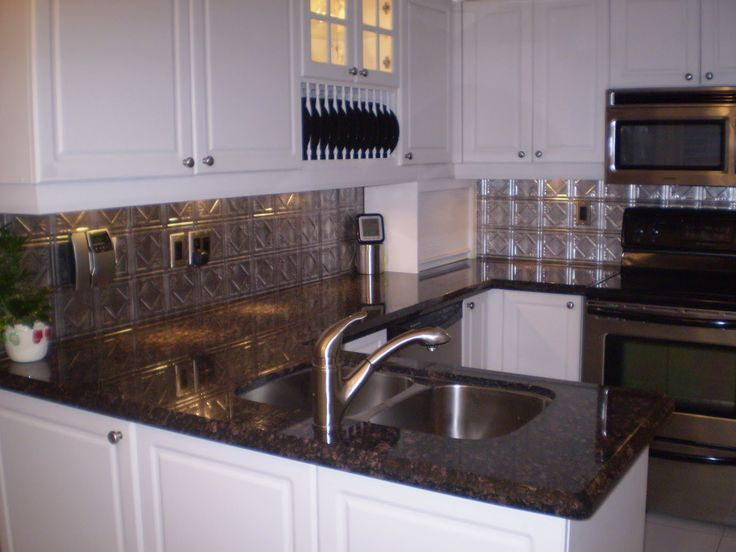 Touch Faucet Kitchen Cork Flooring In Backsplash Ideas For Blue Pearl Granite | Slab Sunday: Tan ...