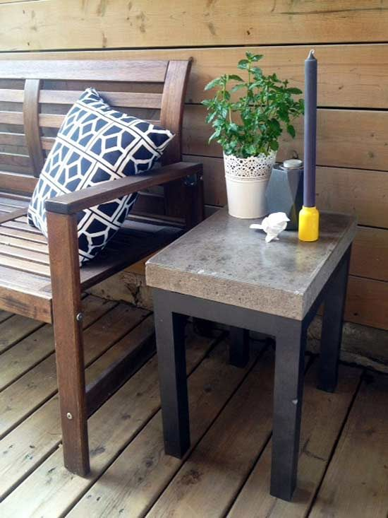 One of the benefits of homemade outdoor furniture is the ability to re-create high-end designs at a fraction of the price. Another is the opportunity to upcycle unused material. This DIY side table, for example, started off as an unwanted concrete test slab for a kitchen countertop project until Kristen of Storefront Life saw its potential as part of a Restoration Hardware knock-off.