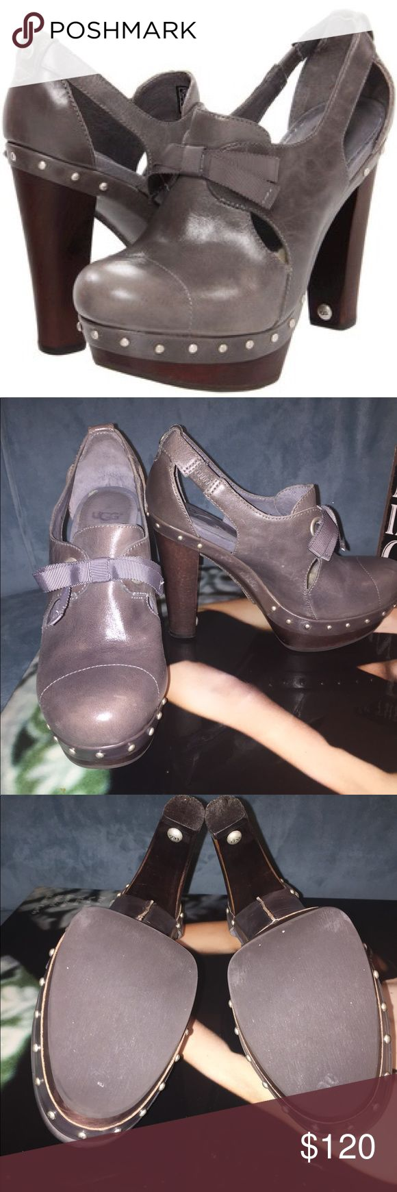 """💯 Authentic UGG Australia Celestina Heel NWOT 💯 UGG Australia Celestina High Heel Clog. Charcoal Leather Gray with Studs and Bows. Feminine ribbon flirts up the rustic edge of a sumptuous, shearling-lined pump. NEVER BEEN WORN. 4"""" Heel. Hurry, these will go fast!!! Run on the smaller side, recommend for 7.5-8, might not fit wide feet well. UGG Shoes Heels"""
