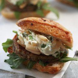 Mushroom & chickpea mini-burgers with coriander & pine nut creme fraiche