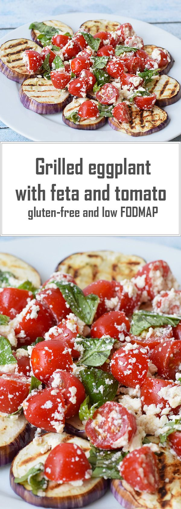 A super simple side dish with grilled eggplant, feta and tomato