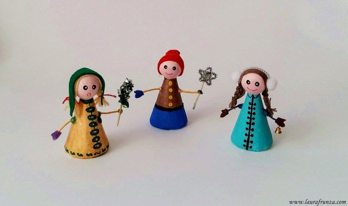 """Carolers - they are made of styrofoam """"men"""", painted and decorated"""