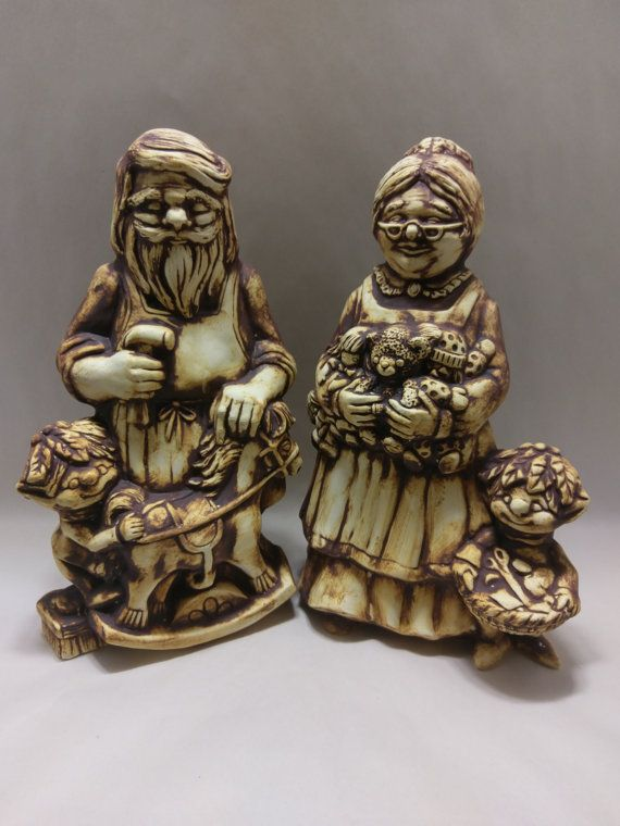 SANTA and Mrs. CLAUS STATUE  Oxide Wash  by CupAndBowlStudio