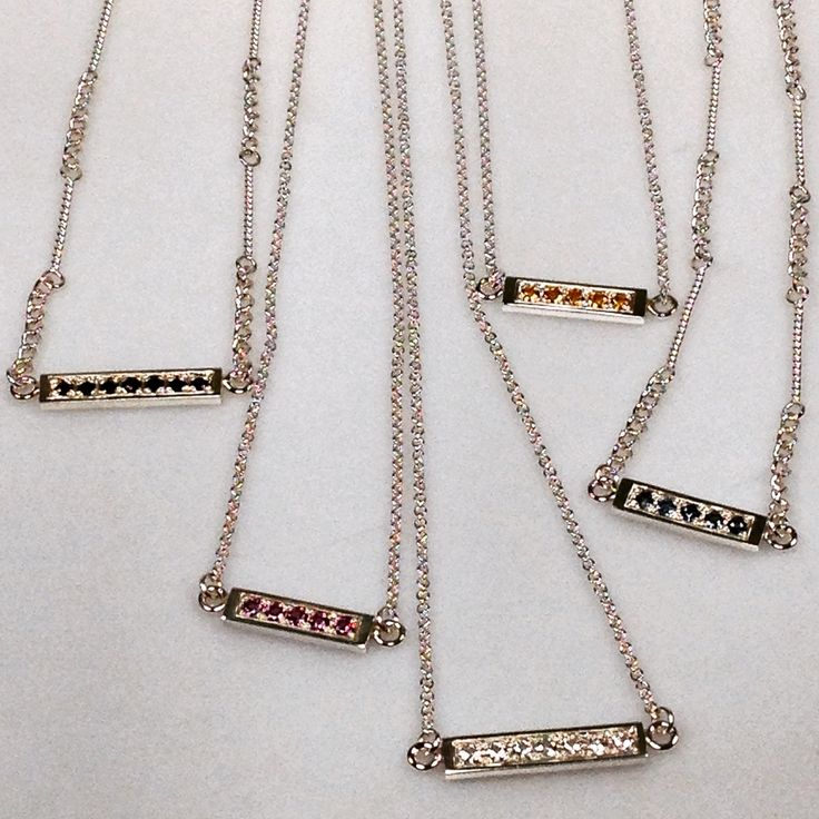 Sterling Silver and Gemstone Micro Set Bar Chokers