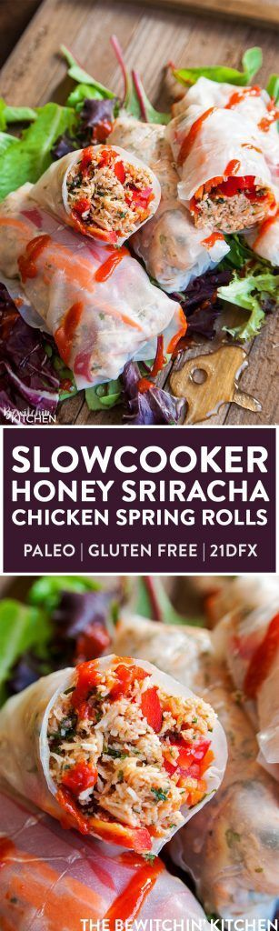 Slow Cooker Honey Sriracha Chicken Spring Rolls - this crockpot dinner recipe uses rice paper wrappers and is not only gluten free but paleo and 21 day fix approved as well. | TheBewitchinKitchen.com