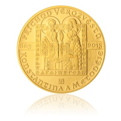 Zlatá mince 10000 Kč 2013 Příchod věrozvěstů Konstantina a Metoděje stand   Česká mincovna