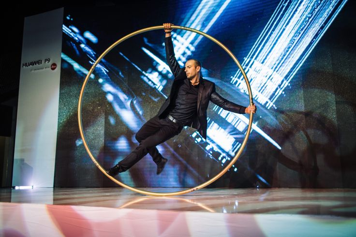Argolla Cyr Wheel act and Pixel Poi performance was one of the main attractions at launch of new smartphone model Huawei P9.