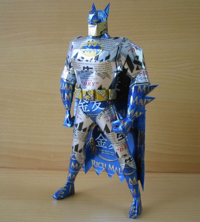 CanCraft: Guy Makes Papercraft Style Superhero/Cartoon/Video Game Characters Out Of Beer And Soda Cans
