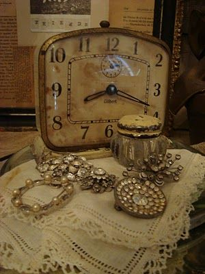 Old clock & jewels... takes me back to her bedroom when I was a kid. Always loved going to stay with her.