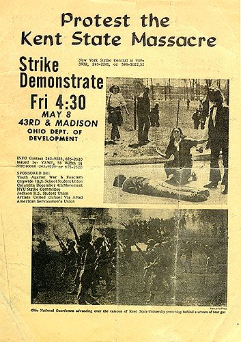 Kent State massacre 5/4/70. Not the 60's but still an important event of the times.