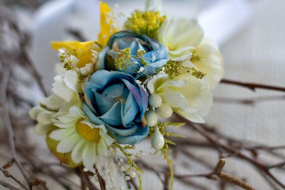 Flower wedding bracelet wristband by EvaFlowersDesigns on Etsy