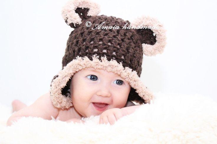 Baby bear Hat, crochet bear hat, baby bear outfit, newborn photo prop, newborn bear hat, baby photo prop, baby animal hat, infant bear hat by Amaiahandmade on Etsy