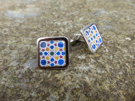 Alhambra Decorative Tile Pattern Chrome Cuff by DragonTreeStudio