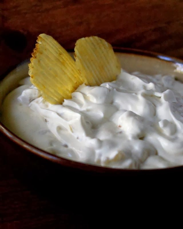 Homemade Onion Dip made from scratch is super easy to make, perfectly seasoned, creamy, and full of sweet and golden caramelized onions.  It was a HIT at my daughter's birthday party!