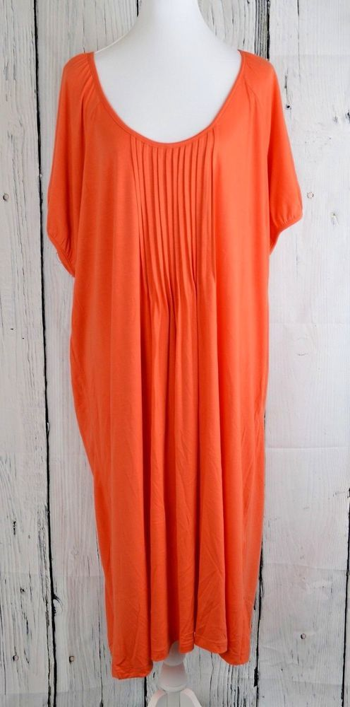 Sara Morgan Women Shift Sheath Midi Dress Pleated Loose Orange Petite Plus P4X #SaraMorgan #SheathDressShiftDress #Casual