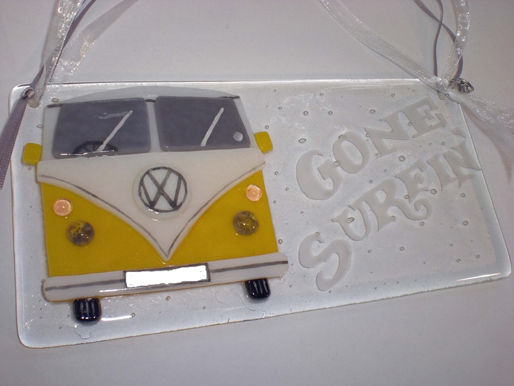 Fused glass Camper van with sandblasted message and personalised number plate. Measures approx. 19.5 x 9.5 cm and is £19.95 plus postage and packing and you can choose the colour.