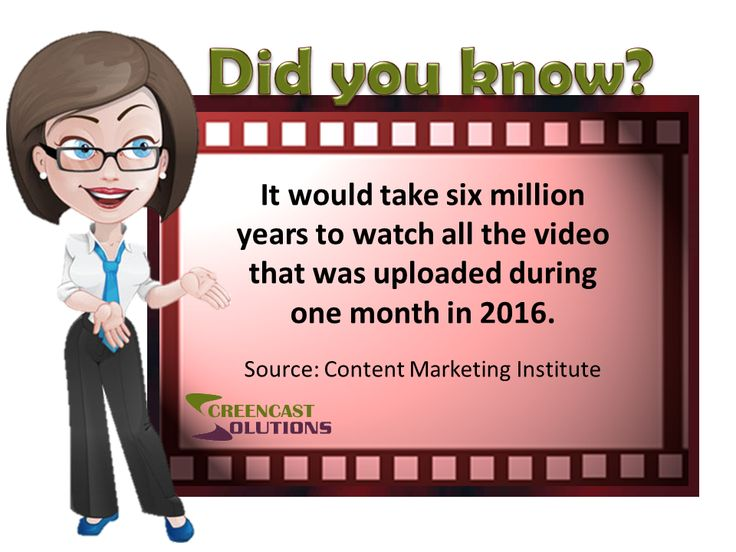 It would take six million years to watch all the video that was uploaded during one month in 2016. - Source: Content Marketing Institute
