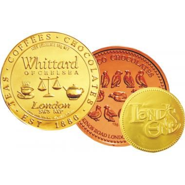 Chocolate Coins :: Sweets and Chocolates :: Pebble Promotions :: Chocolate Coins 55mm chocolate coins moulded with your design on one or two sides. Coins can be netted with a full colour swing tag. Also available in 38mm, 75mm and 100mm sizes.  Product Code: 10659  Dimensions: 55mm dia  Chocolate Coins Colours: gold foil as standard
