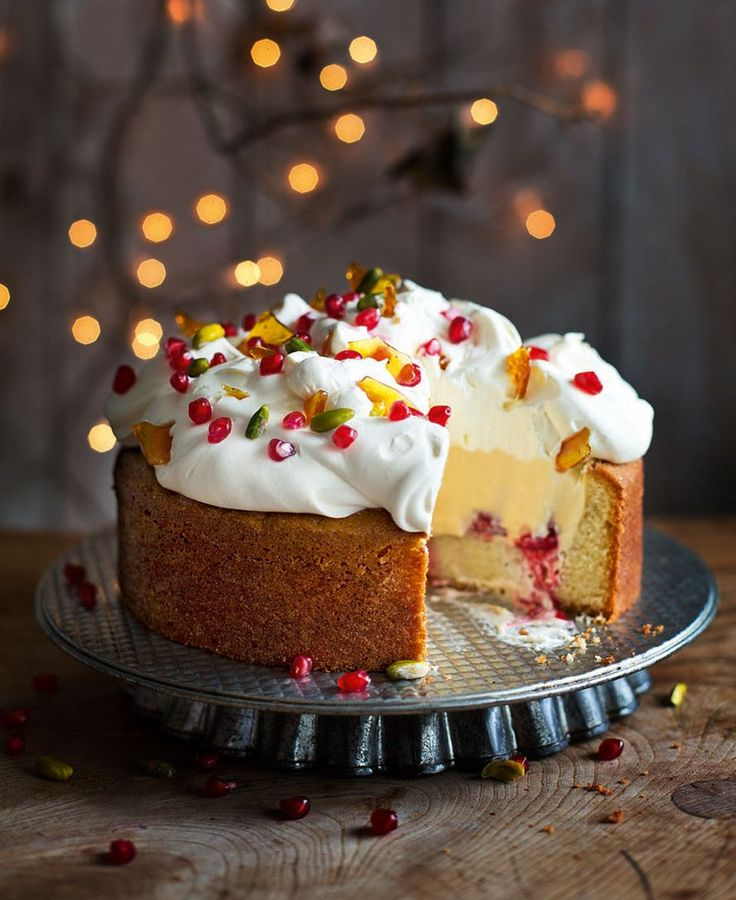 This inside-out cake recipe is a brilliant twist on the traditional trifle and can be prepared the day before serving. Just the thing for an easy-going Christmas finale.