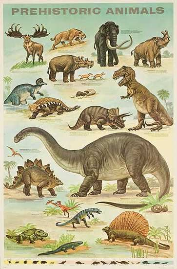 DP Vintage Posters - Prehistoric Animals Original Education Poster