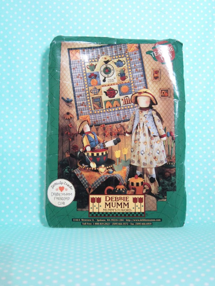 """Debbie Mumm Pattern-Tea Time Tilly Pattern.    SOLD   2 Doll Patterns 21"""" & 13"""" with clothing pattern, Quilt Wall Hanging, Unused. Cheap Quilt Pattern. by FashionSew on Etsy"""