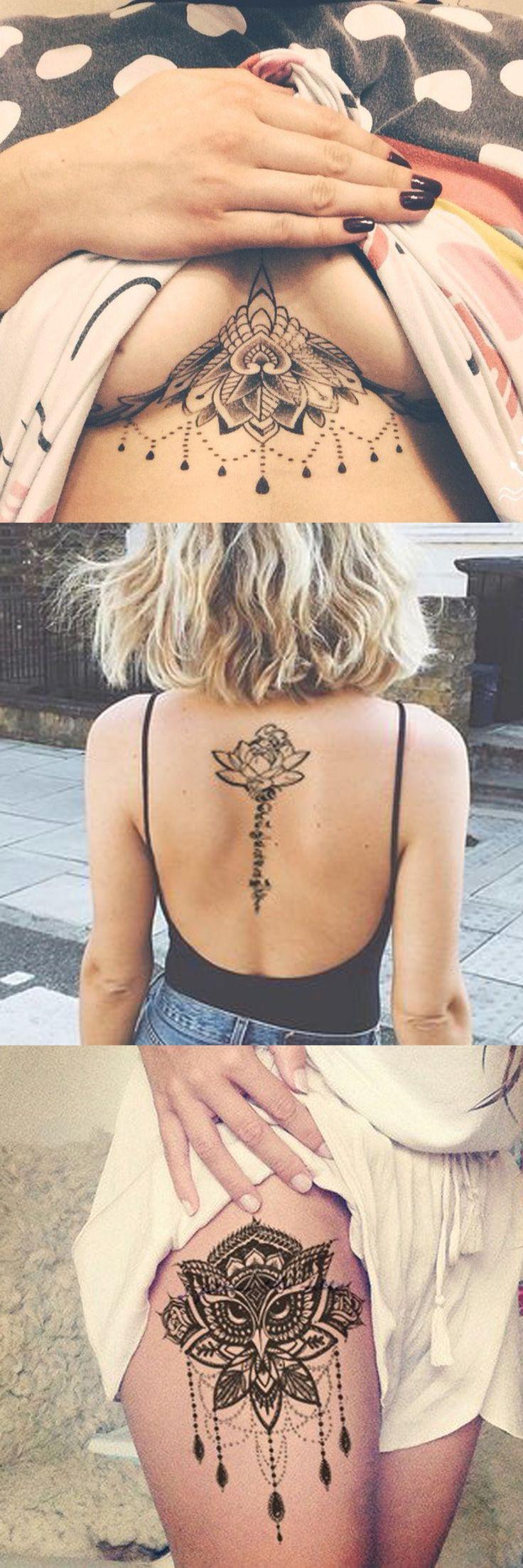 Lotus Tattoo Ideas for Women - at MyBodiArt.com - Flower Script Spine Temporary Tattoos - Sternum Chandelier Tat - Owl Thigh Upper Hip Leg Tatt