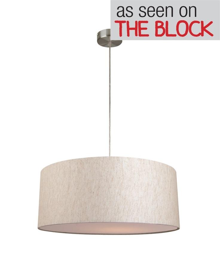 Mara ii drum pendant in linenlightingbeacon lighting