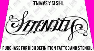serenity ambigram tattoo design ambigram tattoo designs at ink pinterest. Black Bedroom Furniture Sets. Home Design Ideas