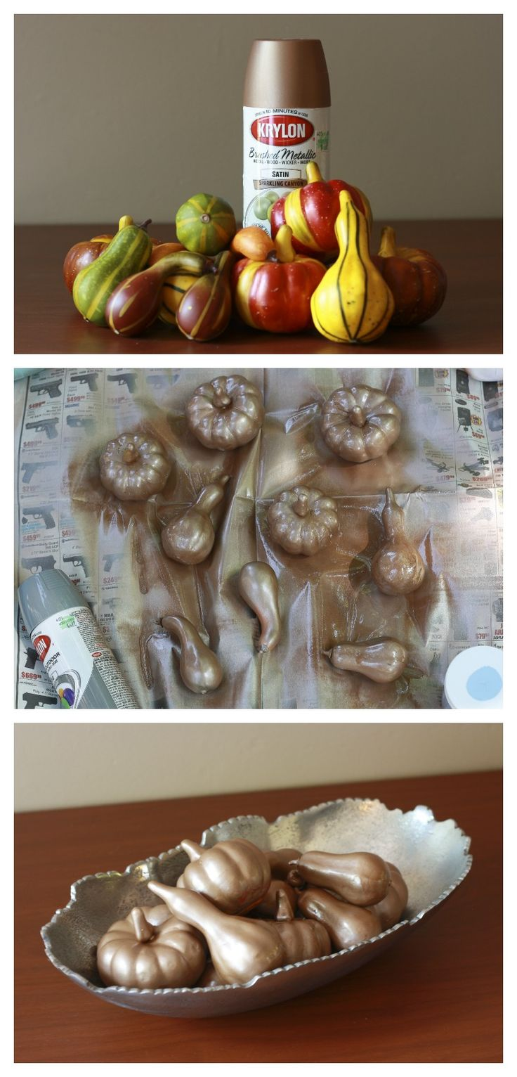 Cheap way to decorate. Spray paint plastic gourds from the dollar store for a more modern look.