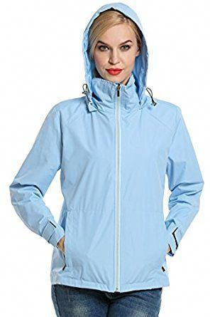 dca18ee97d64 A ran jacket for women that is waterproof and fashionable. The Meaneor  Women s Outdoor Waterproof
