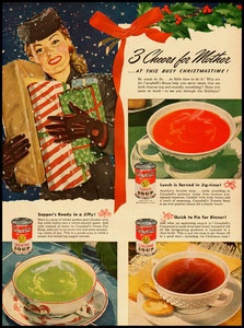 1940s vintage Christmas ad for Campbell Soup
