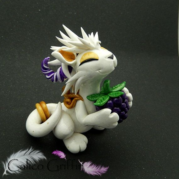 White granite dragon - clay sculpture - Premo Sculpey, handmade, figurine, decoration, art