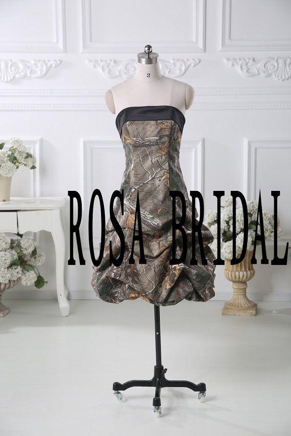 Camo bridesmaid dress, Camouflage wedding dress, Camo wedding prom dress party gown Custom Size
