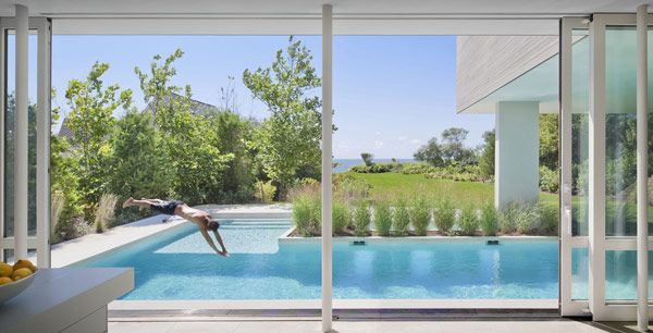pool. like the l shaped pool. steps and shallow seating area separate from the lap portion.