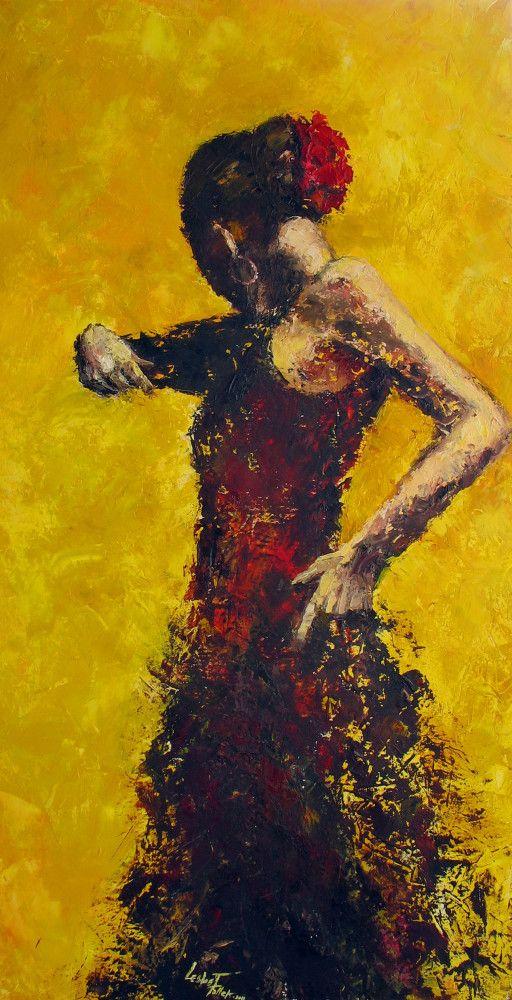 Flamenco Oil on Canvas 40x80 cm Inspired by Fabian Perez Work