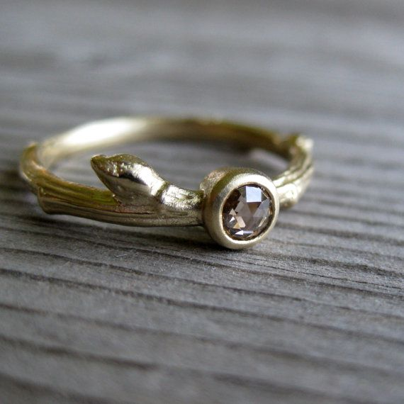 Rose Cut Chocolate Diamond Twig Ring in Recycled gold - unique wedding engagement ring alternative