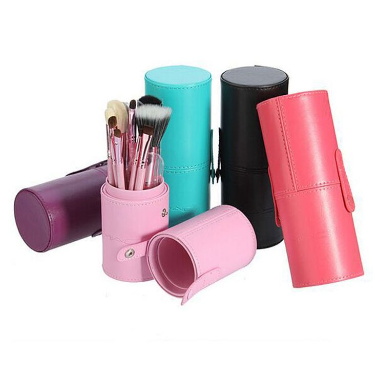 12pcs Makeup Brushes Kit Studio Holder Tube Convenient Portable Leather Cup Natural Hair Synthetic Duo Fiber J1204MCB Rose Red - Tmart