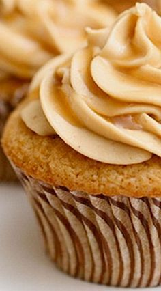 Triple Butterscotch Cupcakes with Butterscotch Buttercream Frosting, and Drizzled with Butterscotch Sauce