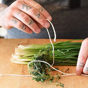 Similarly, woody herbs like thyme or rosemary should also be bundled and tied with butcher's twine before they're added to the pot. | 17 Genius Cooking Tricks That Professional Chefs Want You To Know