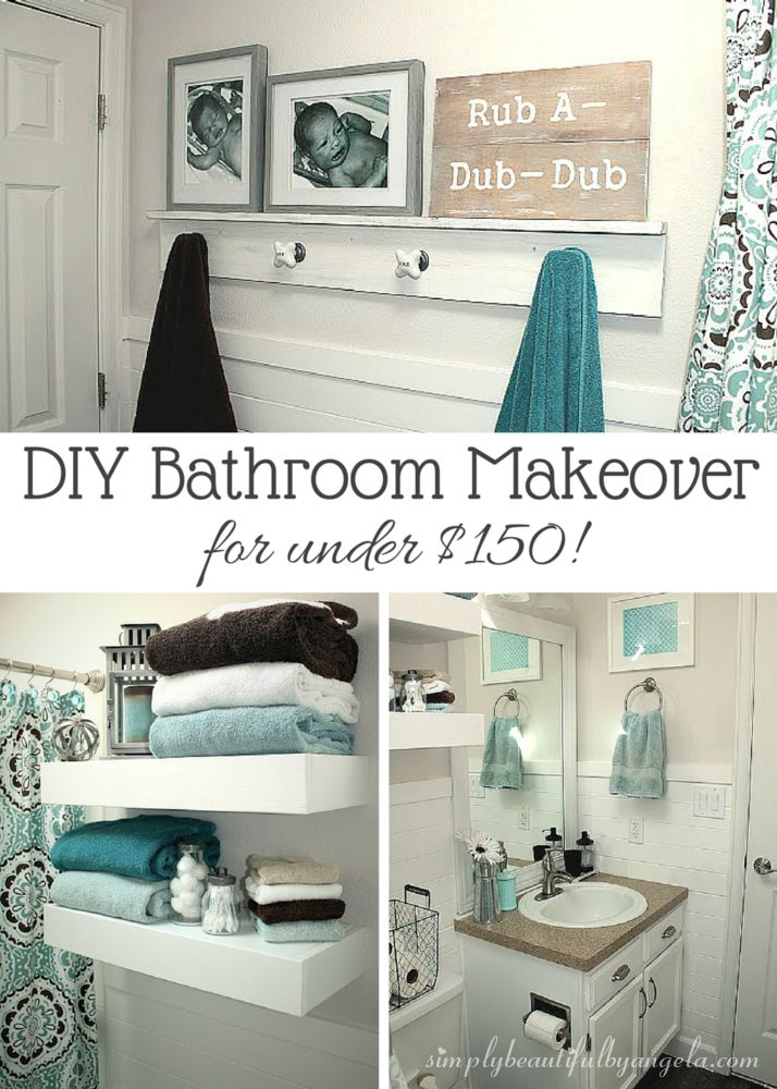 The Awesome Web Simply Beautiful by Angela Bathroom Makeover on a Budget Big Ideas for Small Apartments Pinterest Budgeting Hall bathroom and House