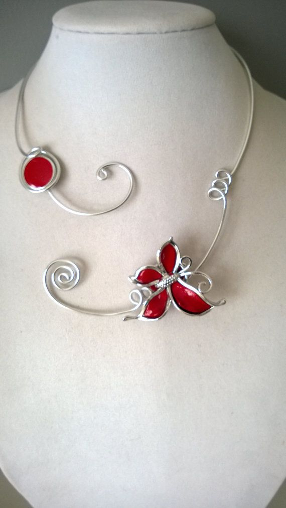 Butterfly jewelry Red jewelry Aluminium wire by LesBijouxLibellule