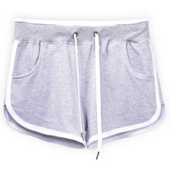 Women's Women Summer Pants Sports Shorts Gym Workout Yoga Short ($8.55) ❤ liked on Polyvore featuring activewear, activewear shorts, grey, yoga sportswear, sports activewear and yoga activewear