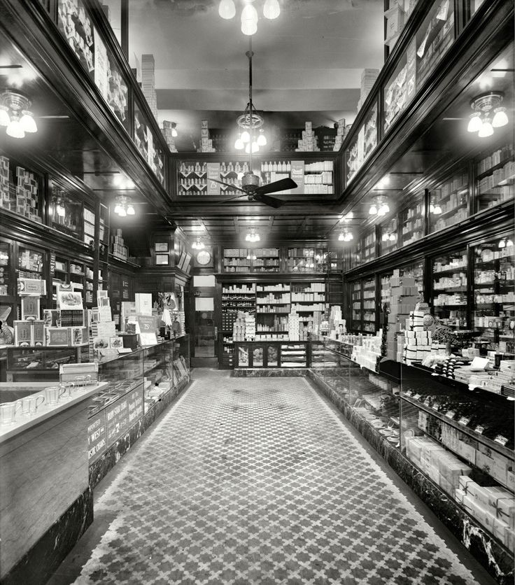 Inside of a drug store, 1913