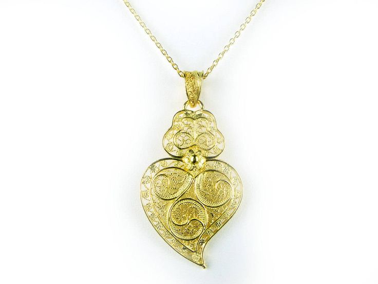 Portuguese Filigree PENDANT Viana (4.5cm) with Necklace in 925 Sterling Silver w/ 24k Gold Bath by NadirFiligree on Etsy